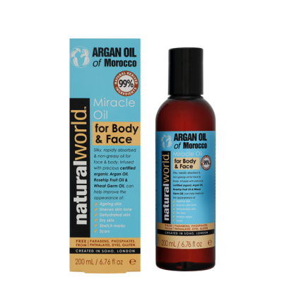 MOROCCO ARGAN OIL Olejek do twarzy i ciała /200ml NATURAL WORLD